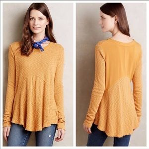 Anthropologie Left Of Center Yellow Thermal Top